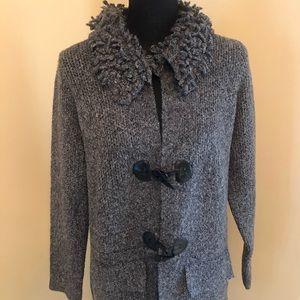 NWOT Karen Heart Rag Sweater Grey Size Large